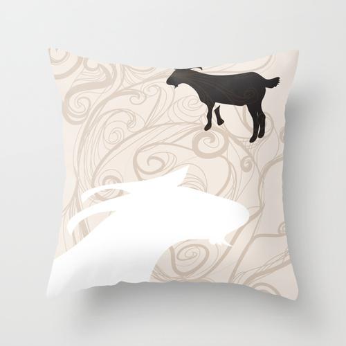 Society6 goat pillow